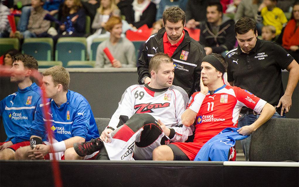 Tillsammans med Tomáš Kafka i slutperioden av jätteförlusten mot Sverige i januari 2014.